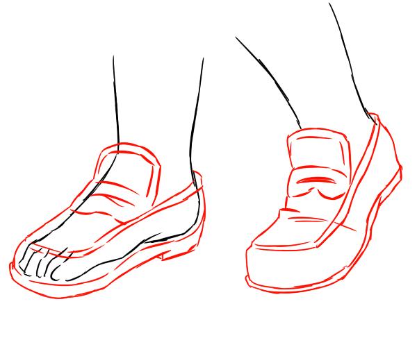 ローファーは足の型を包むシンプルで基本的な靴の形です。つま先立ちをすることで、足の型に沿ってローファーも折れ曲がります。