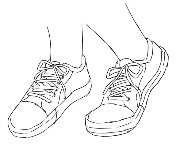 ローファーで靴の形が把握できたら、靴紐の結びを描き足すことでスニーカーを描くことができます。