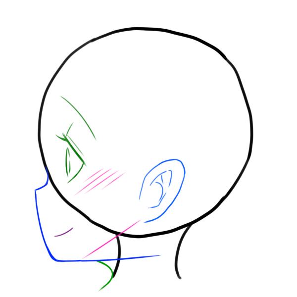顎を覆うようにして髪の毛を描きます。つむじの場所を意識して描くと髪の毛にまとまりがでます。