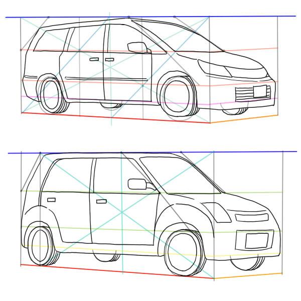 自動車セダンワゴン車の描き方 絵師ノート