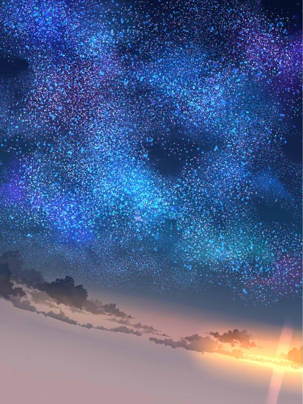 星が足りないと感じたので別レイヤーを作ってさらに増やします。やり過ぎかな?と思っても後で不透明度を下げたりして調節するのでやり過ぎくらいが綺麗 に見えます。
