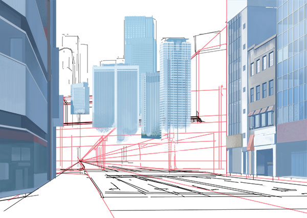 このようにして近景にあるビル類を描き込んでいきます。描き方は基本と変わりませんが、デザインを建物ごとによって変えてあげなくてはいけないので、建物の資料を