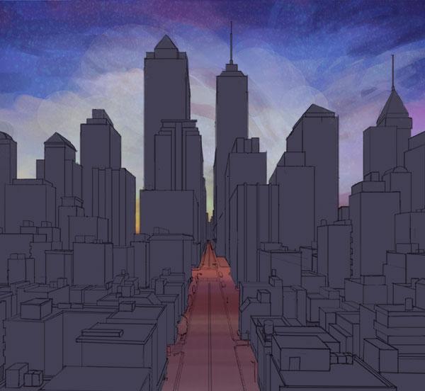 ビル群のある夜景の描き方