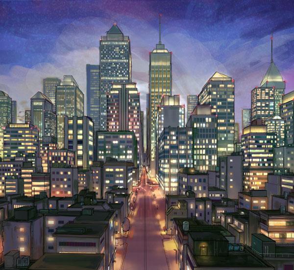 ビル群のある夜景の描き方 絵師ノート
