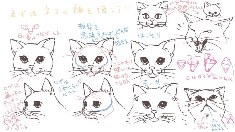 猫の顔を描こう!ポイントと程良いデフォルメ