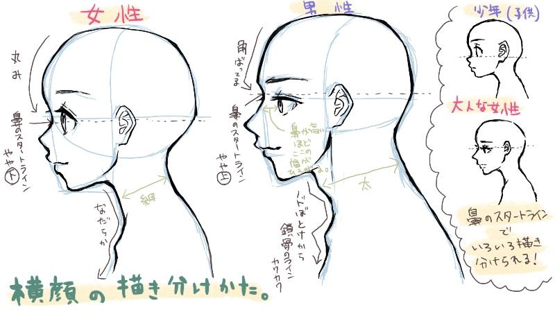 横顔の描き方横顔が失敗する10の原因を知ろう 絵師ノート