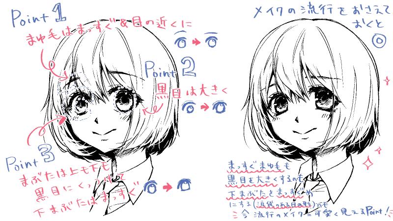 女の子の目の描き方 簡単可愛い涙袋のイラストも描けるよ 絵師ノート